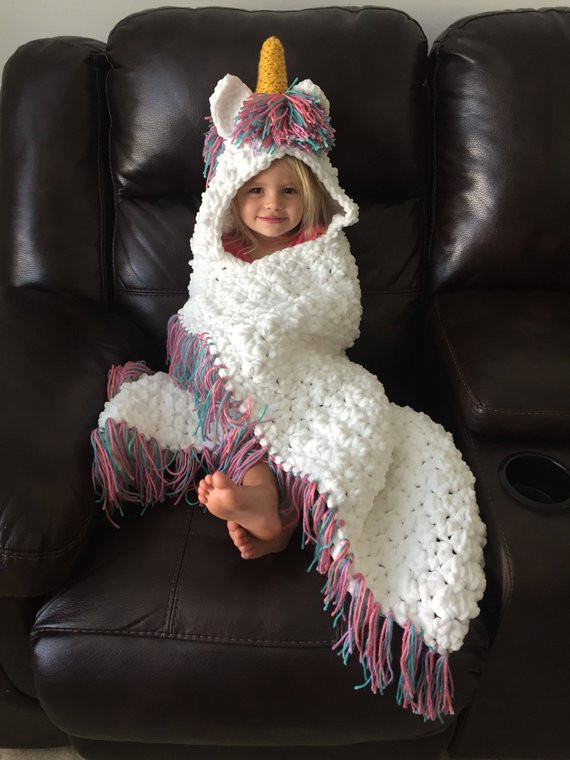 Unicorn blanket crochet unicorn blanket hooded unicorn