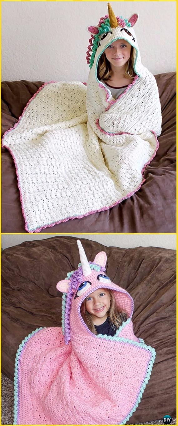 Crochet Unicorn Blanket Lovely Crochet Hooded Blanket Free Patterns & Tutorials Of Charming 44 Ideas Crochet Unicorn Blanket