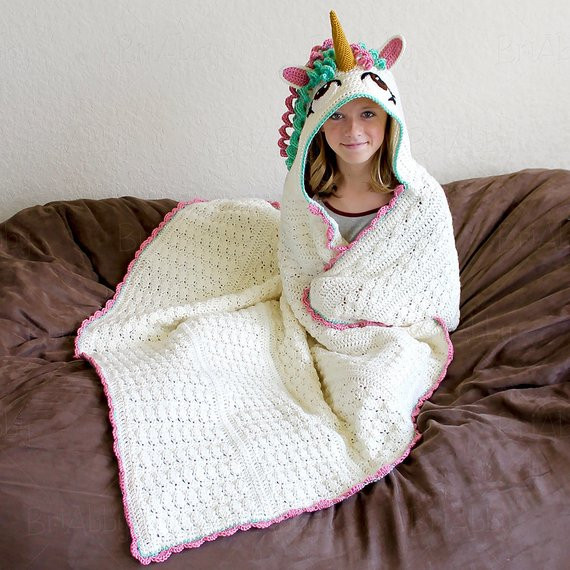 Crochet Unicorn Blanket Lovely Crochet Pattern Hooded Unicorn Blanket Pattern Pdf File Of Charming 44 Ideas Crochet Unicorn Blanket