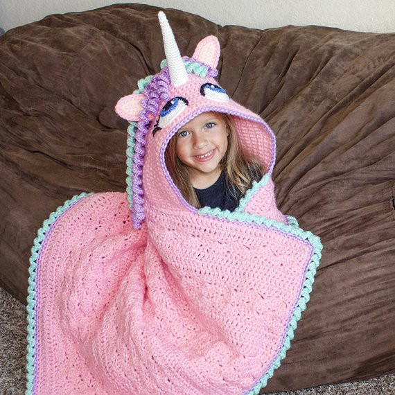 Crochet Unicorn Blanket Luxury Crochet Pattern Hooded Unicorn Blanket Pattern Pdf File Of Charming 44 Ideas Crochet Unicorn Blanket