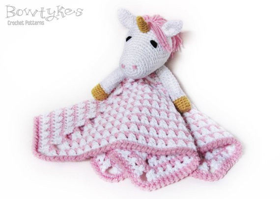 Unicorn Lovey CROCHET PATTERN instant blankey