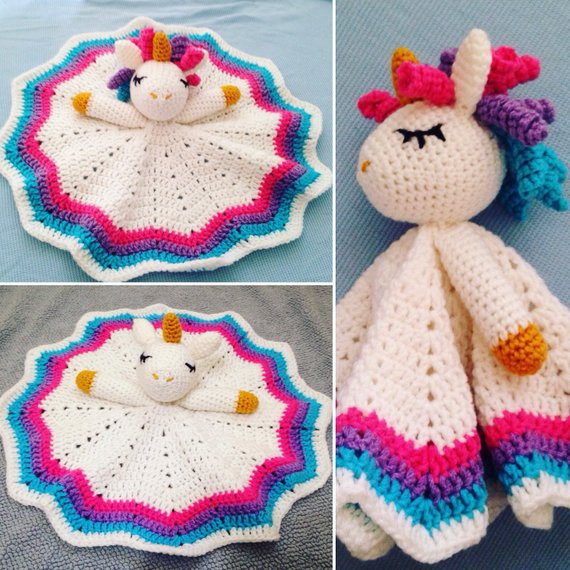 Crochet Unicorn Blanket Unique Items Similar to Crochet Rainbow Unicorn Lovey Security Of Charming 44 Ideas Crochet Unicorn Blanket