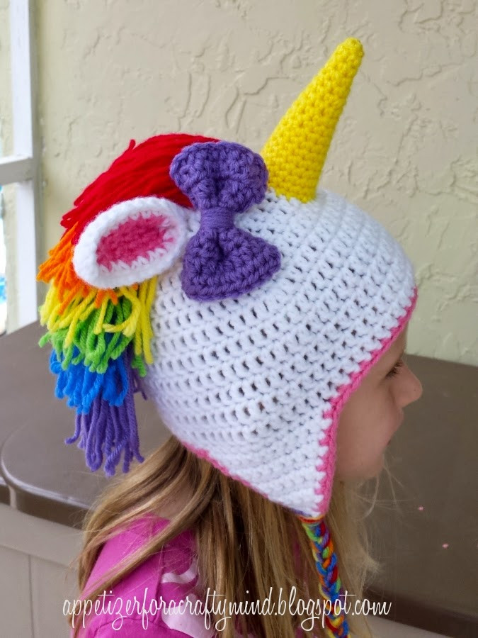 Appetizer for a Crafty Mind Rainbow Crochet Unicorn Hat