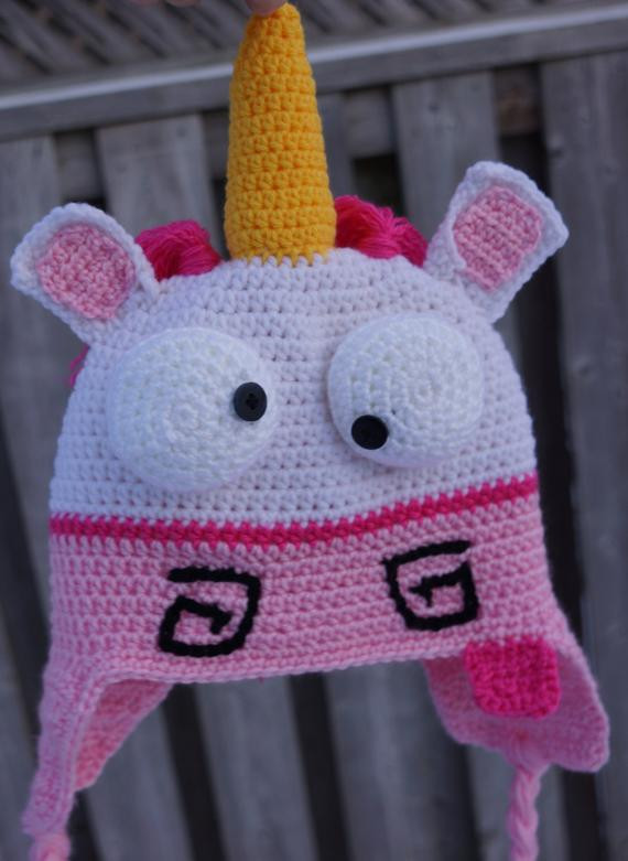 Crochet Unicorn hat despicable me unicorn hat by HookersPalace