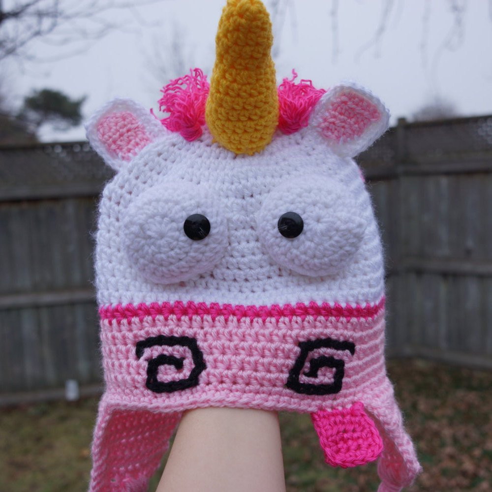 Crochet Unicorn hat despicable me unicorn hat with ear flaps