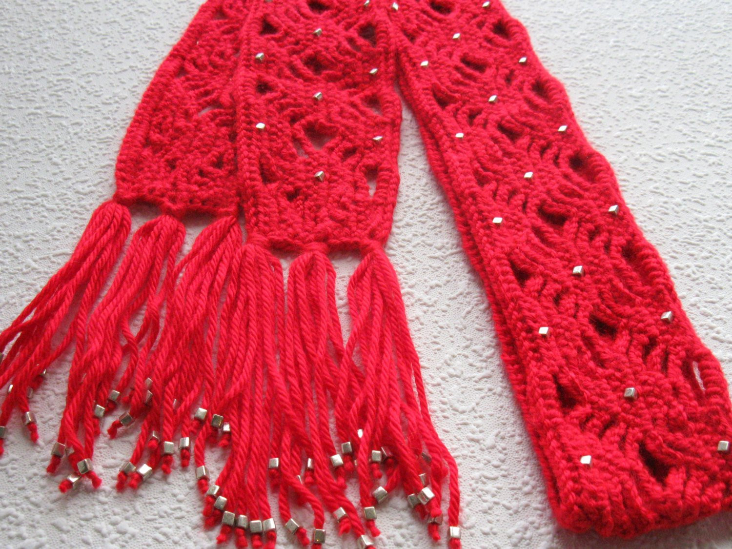 Red Beaded Scarf Crochet scarf with silver color beads for