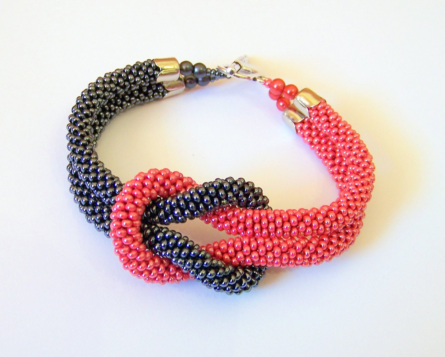 Crochet with Beads Luxury Beadwork Bead Crochet Bracelet In Grey and Red Beaded Of Amazing 50 Models Crochet with Beads