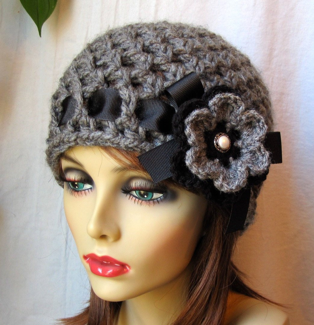 Crochet Hat Charcoal Grey Womens Hat Beanie by JadeExpressions