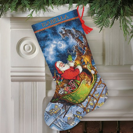 Cross Stitch Christmas Stocking Elegant Dimensions Santa S Flight Christmas Stocking Cross Of New 46 Photos Cross Stitch Christmas Stocking
