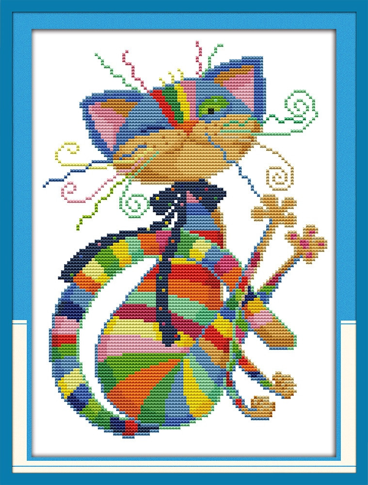 Cross Stitch Kits for Beginners Elegant Handsome Colorful Cat Canvas Dmc Counted Cross Stitch Kits Of Gorgeous 45 Models Cross Stitch Kits for Beginners