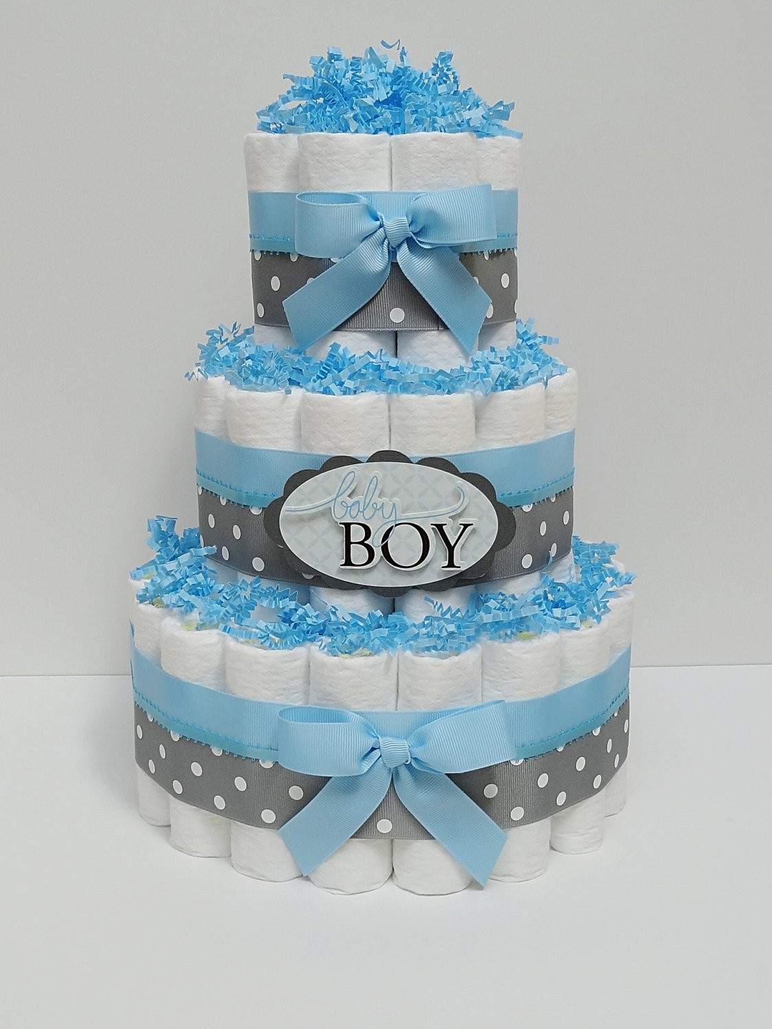 Diaper Cakes for Boys Best Of Baby Boy Blue and Gray Diaper Cake Baby by Lanasdiapercakeshop Of Brilliant 46 Photos Diaper Cakes for Boys