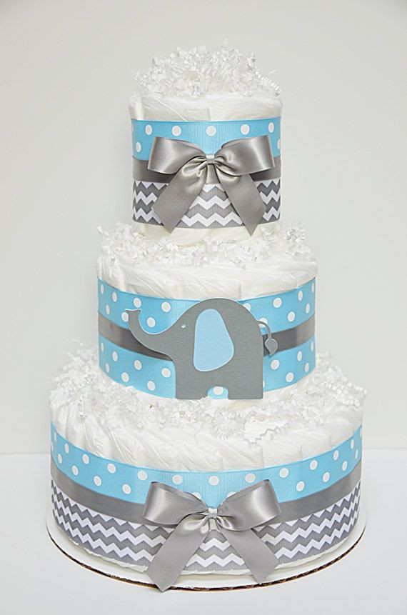 Diaper Cakes for Boys Lovely 3 Tier Blue & Gray Elephant Diaper Cake Chevron Baby Of Brilliant 46 Photos Diaper Cakes for Boys