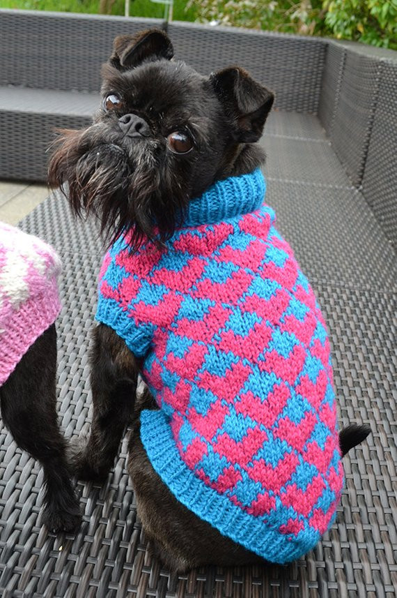 Items similar to Heart Patterned Dog Sweater Knitting