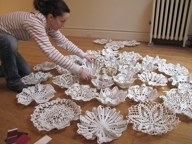 Doily Crafts Beautiful Doilys Dipped In Porcelain Slip Draped Over Bowl form and Of Contemporary 47 Photos Doily Crafts