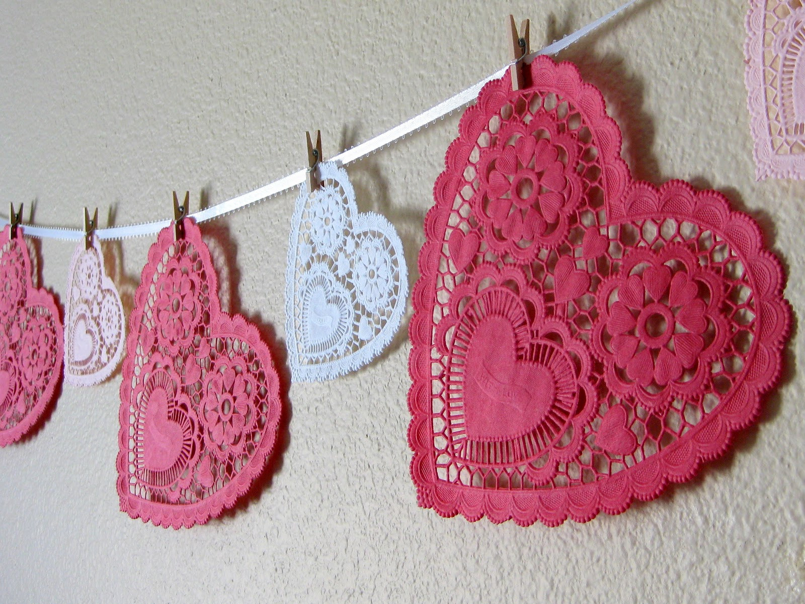 Doily Crafts Beautiful Stayathomeartist Valentine S Day Doily Garland Of Contemporary 47 Photos Doily Crafts