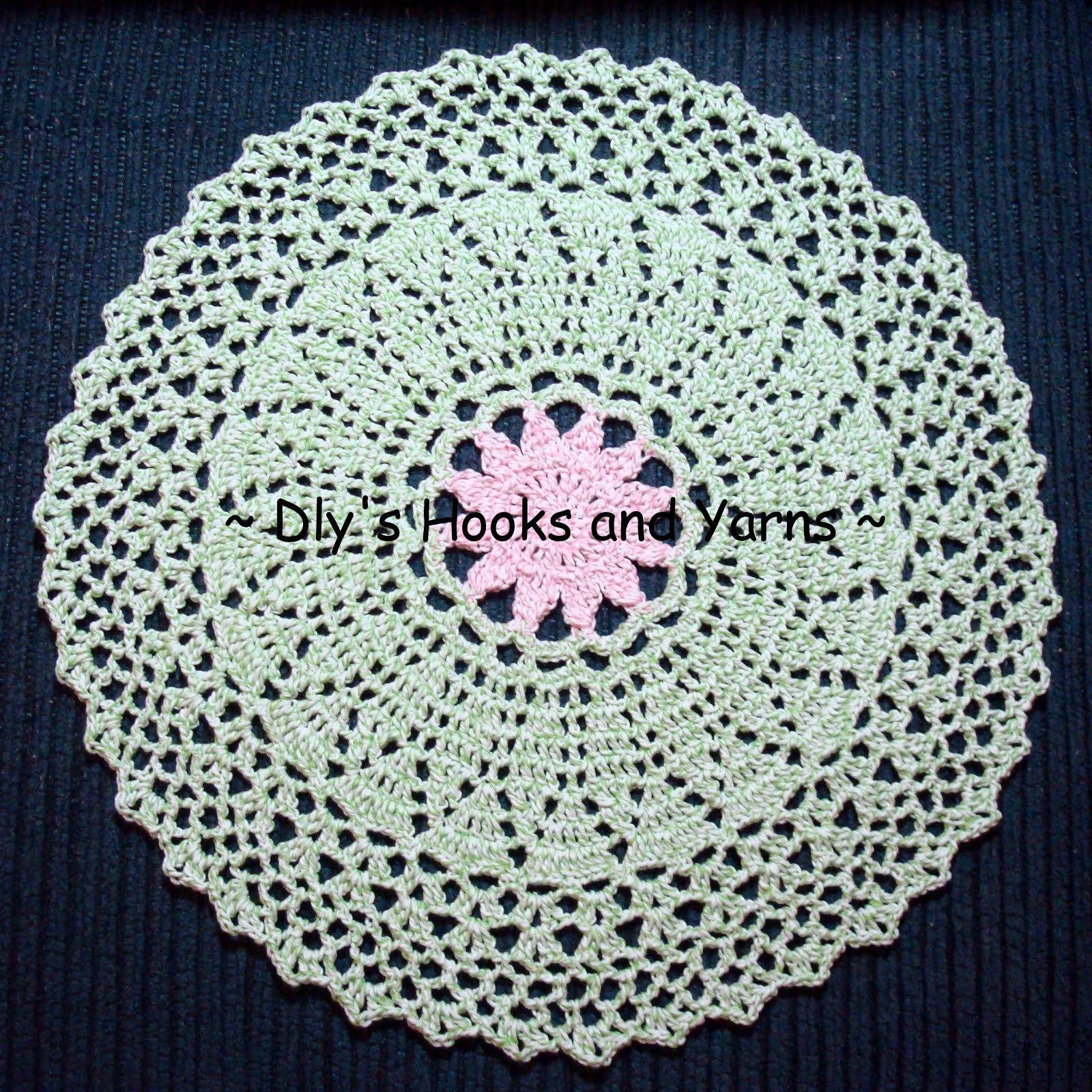 my little blue house pink flower doily pattern now