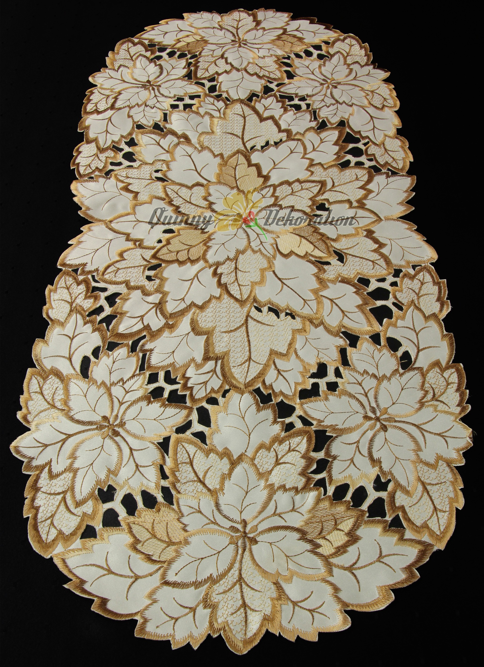 Leaf Doily Tablecloth Table runner Topper Cream Brown