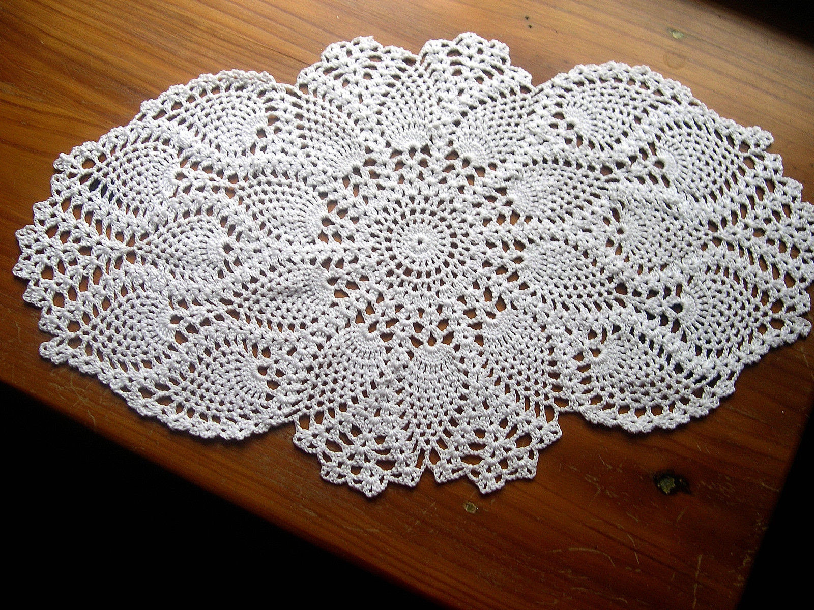 Thread Crocheted Doily Tablecloth Centerpiece Oval Lace