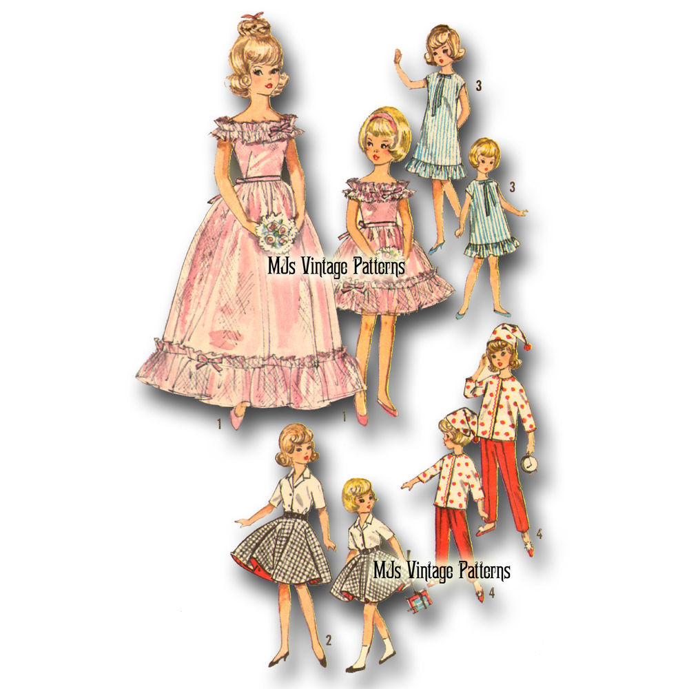 """Doll Clothes Patterns Best Of Vtg 60s Doll Dress Clothes Pattern 12"""" Tammy & 9"""" Pepper Of Great 43 Models Doll Clothes Patterns"""