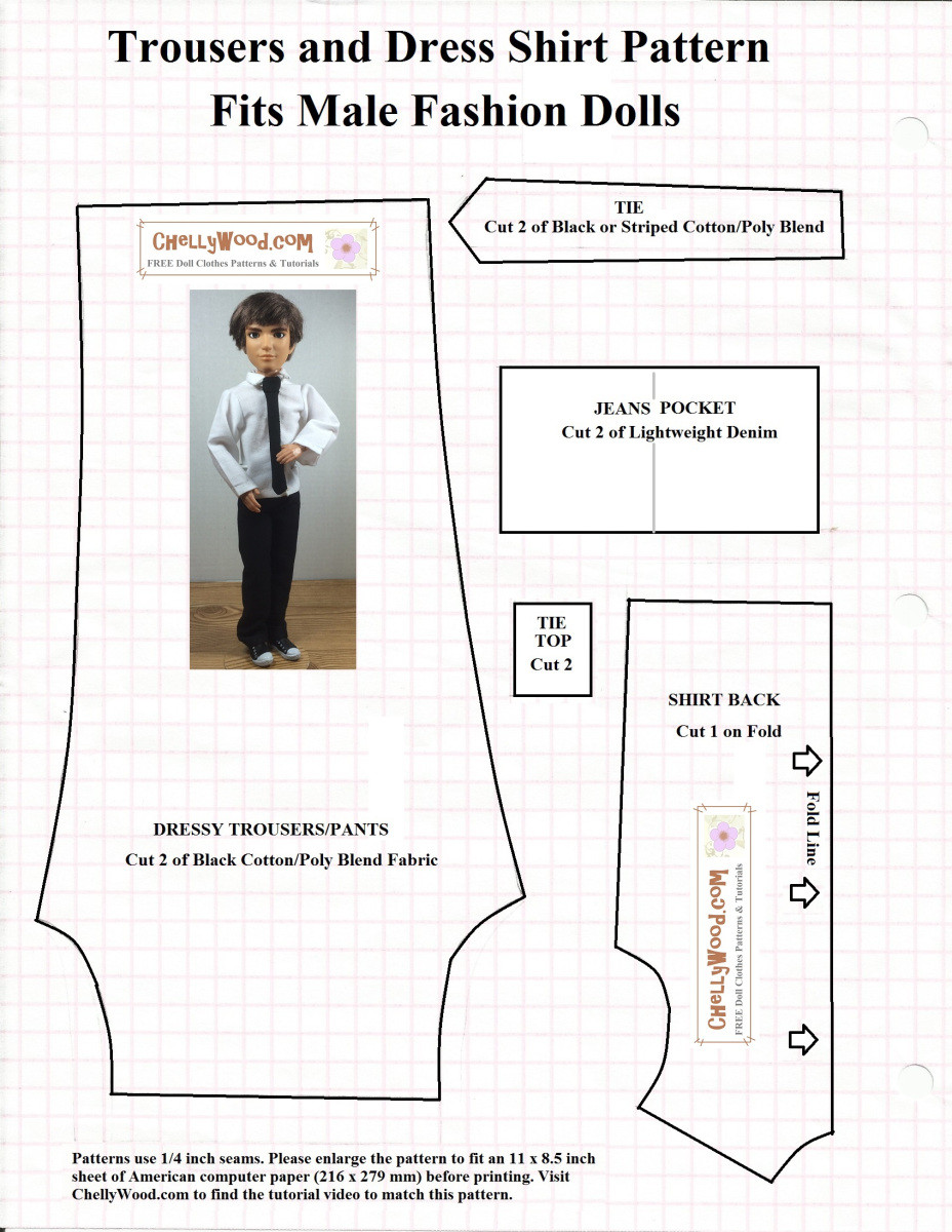 Doll Clothes Patterns New Free Sewing Pattern for Male Fashiondoll Suit and Tie Of Great 43 Models Doll Clothes Patterns
