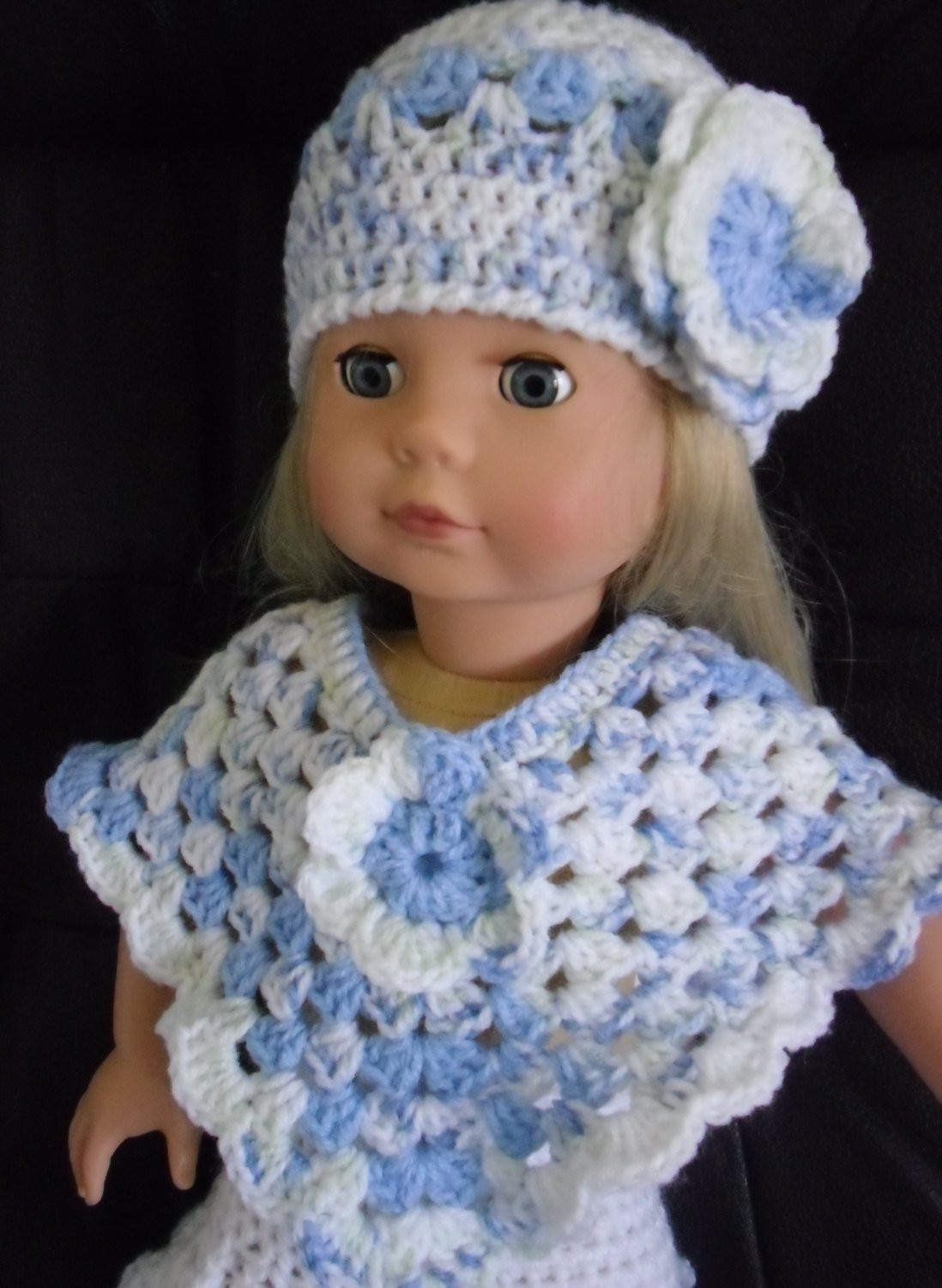 PDF Crochet pattern for hat and poncho for 18 inch doll