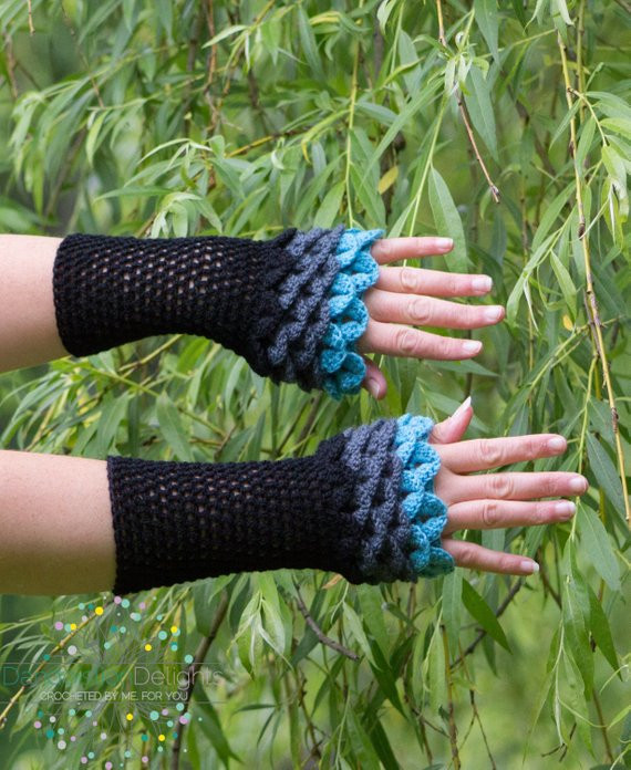 Dragon Scale Crochet Gloves Beautiful Dragon Scale Gloves Fingerless Crochet Black Gray and Blue Of Dragon Scale Crochet Gloves Inspirational Dragon Scale Crocheted Gloves