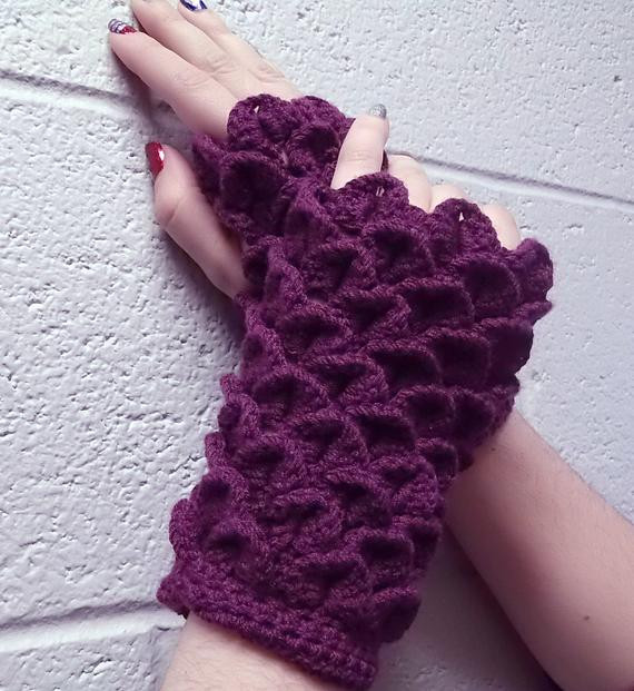 Dragon Scale Crochet Gloves Elegant Dragon Scale Feather Crochet Purple Fingerless Gloves Of Dragon Scale Crochet Gloves Inspirational Dragon Scale Crocheted Gloves