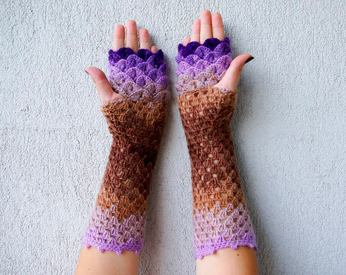 Dragon Scale Crochet Gloves Inspirational Dragon Scale Crocheted Gloves Of Dragon Scale Crochet Gloves Luxury Crochet Pattern Erebor Dragon Scale Fingerless Gloves Dragon
