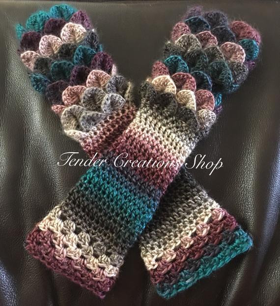 Dragon Scale Crochet Gloves Inspirational Dragon Scale Gloves Fingerless by Tendercreationsshop On Etsy Of Wonderful 30 Ideas Dragon Scale Crochet Gloves