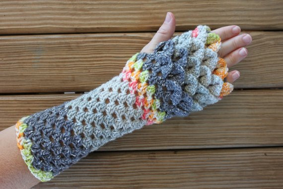 Dragon Gloves Dragon Scale Fingerless Gloves Long Crochet