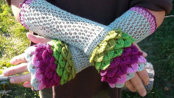 Dragon Scale Crochet Gloves New Dragon Scale Fingerless Gloves Crochet Arm by Madhatcattery Of Wonderful 30 Ideas Dragon Scale Crochet Gloves