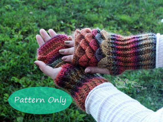 Dragon Scale Crochet Gloves Unique Pattern Only Crochet Dragon Scale Gloves Gauntlets Pdf Of Dragon Scale Crochet Gloves Inspirational Dragon Scale Crocheted Gloves