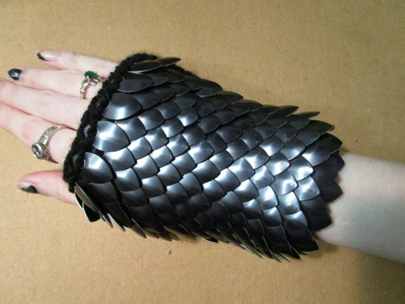Dragon Scale Gloves Knitted Scale Maille by