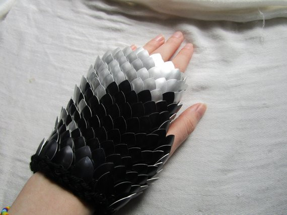 Silver to Black Dragon Scale Gloves Dragon Scale Gauntlets