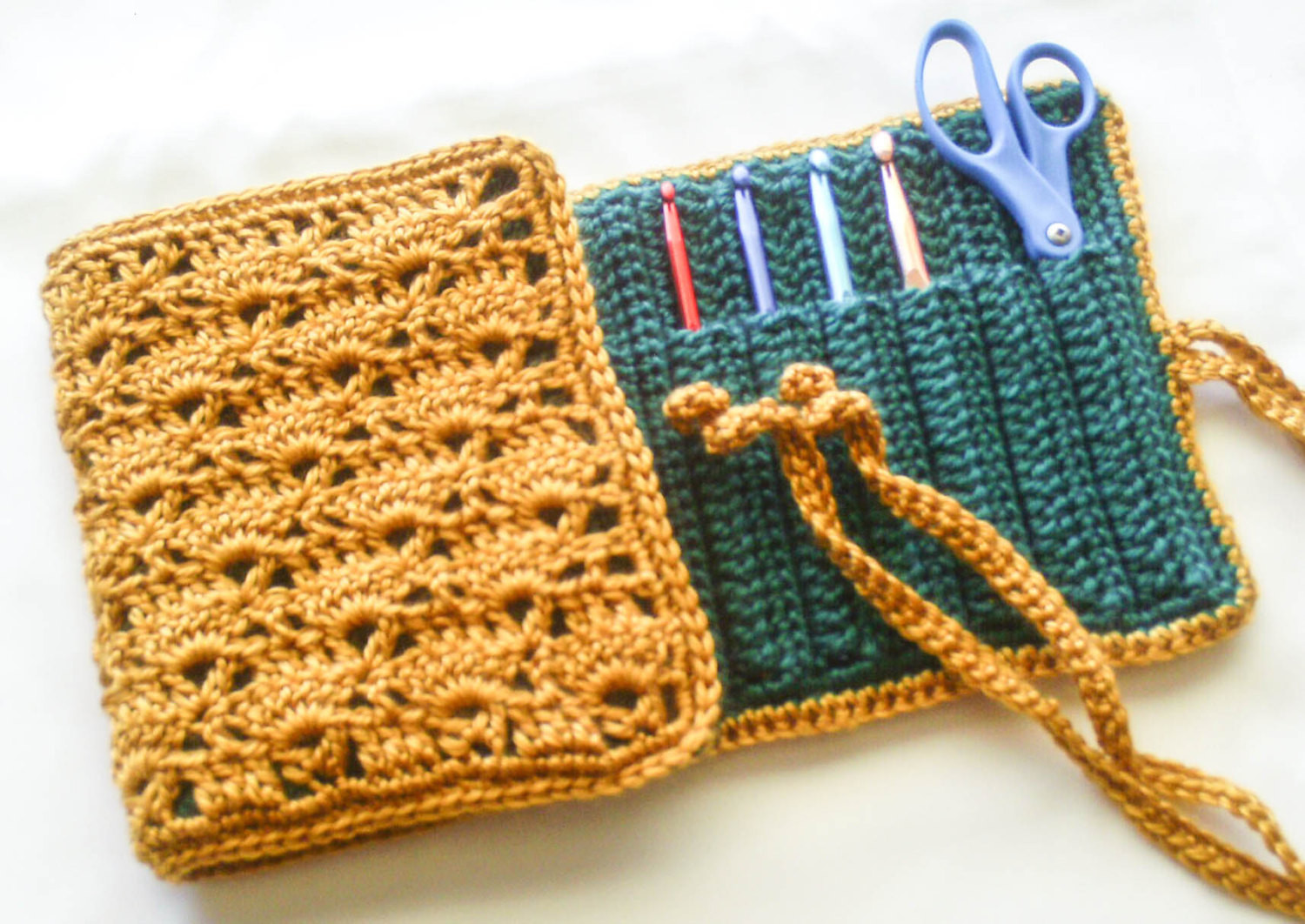 Green and Gold Travel Case Crochet Hooks Available