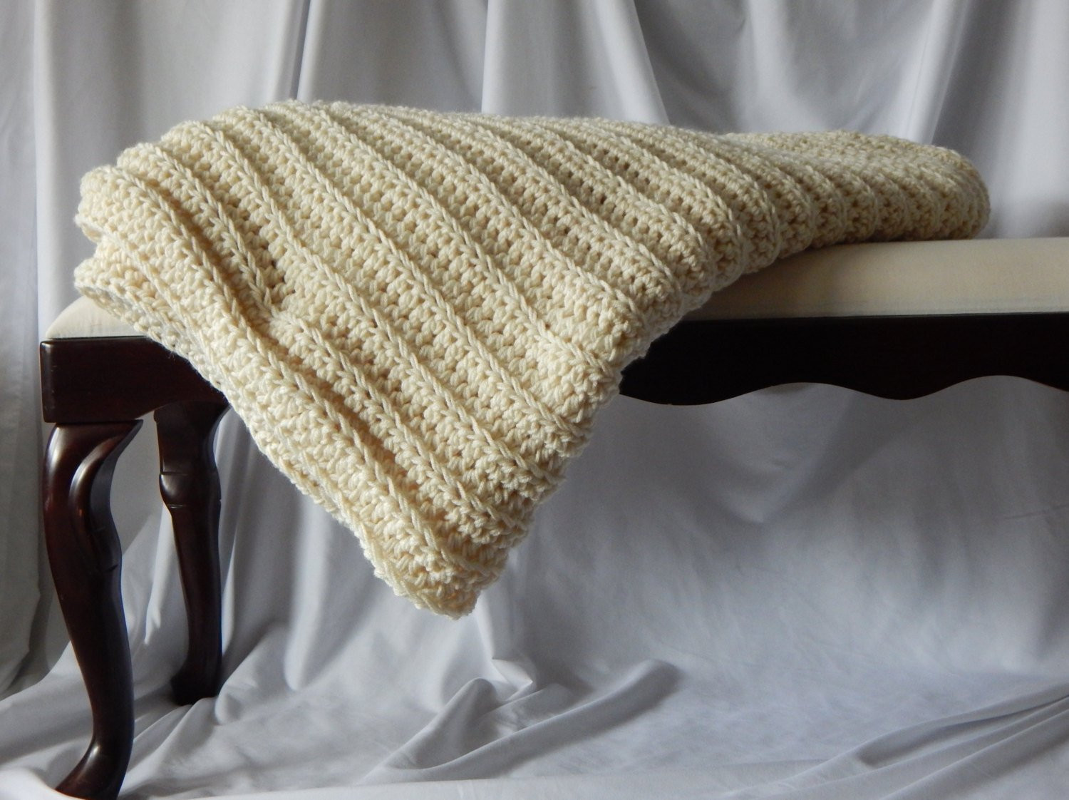 Crochet Afghan PATTERN – Easy Beginner Ribbed Chunky and