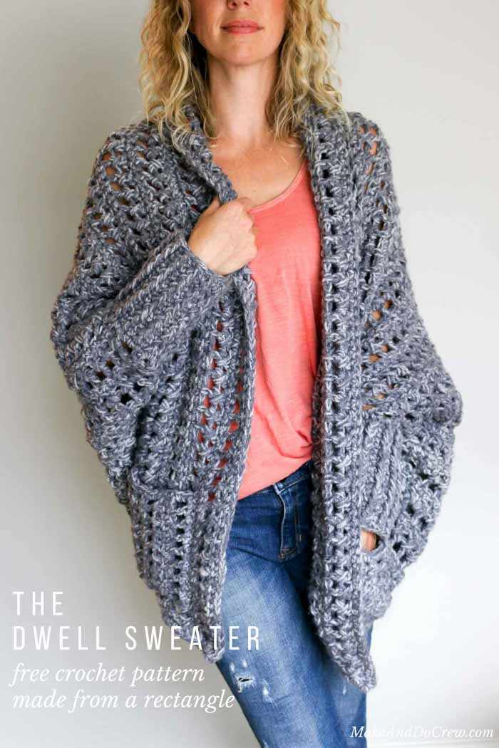 Easy Chunky Crochet Sweater Free Pattern from Make & Do