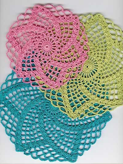 Easy and quick to stitch doilies Pattern set includes 3