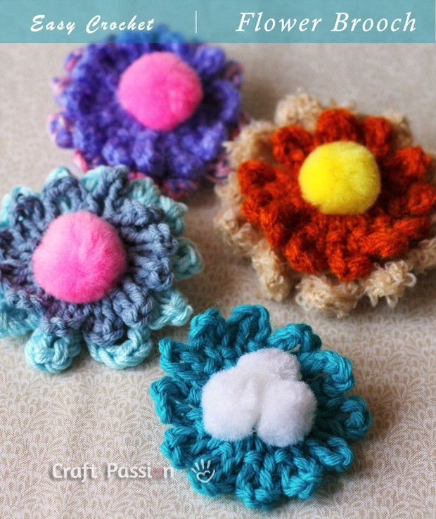 Easy Crochet Flower Patterns Free New Easy and Beautiful Crochet Flower Brooch – Free Pattern Of Innovative 47 Images Easy Crochet Flower Patterns Free