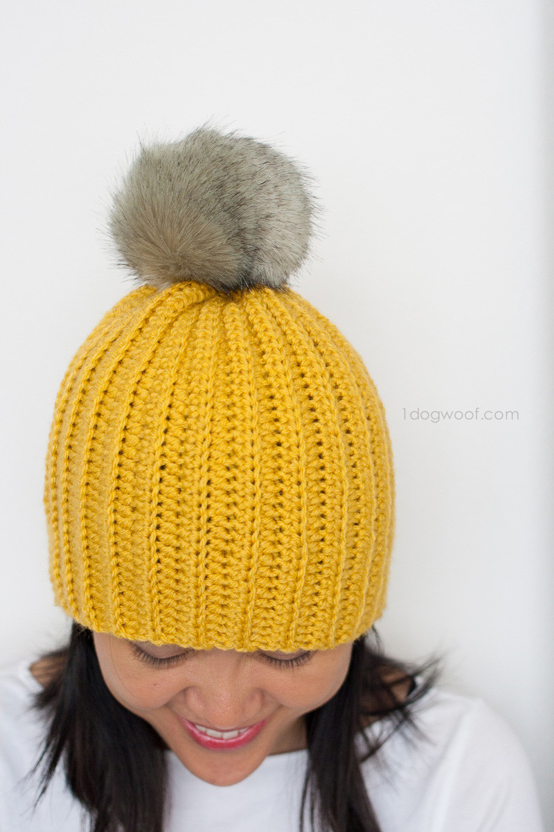 Easy Crochet Hat Patterns Beautiful Lolly Poms Easy Ribbed Crochet Beanie E Dog Woof Of Innovative 46 Pictures Easy Crochet Hat Patterns