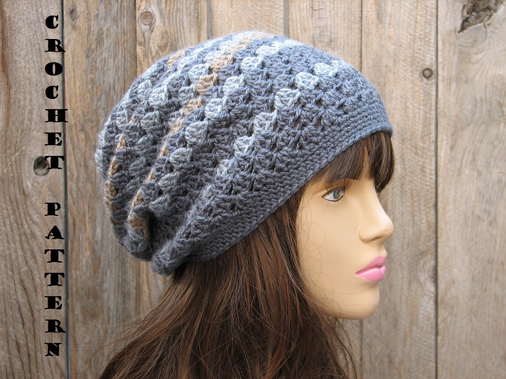 Crochet Hat Slouchy Hat Crochet Pattern PDF Easy Great