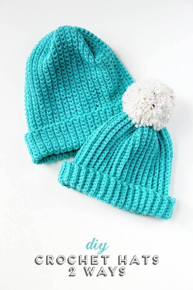 easy diy crochet hats 2 ways