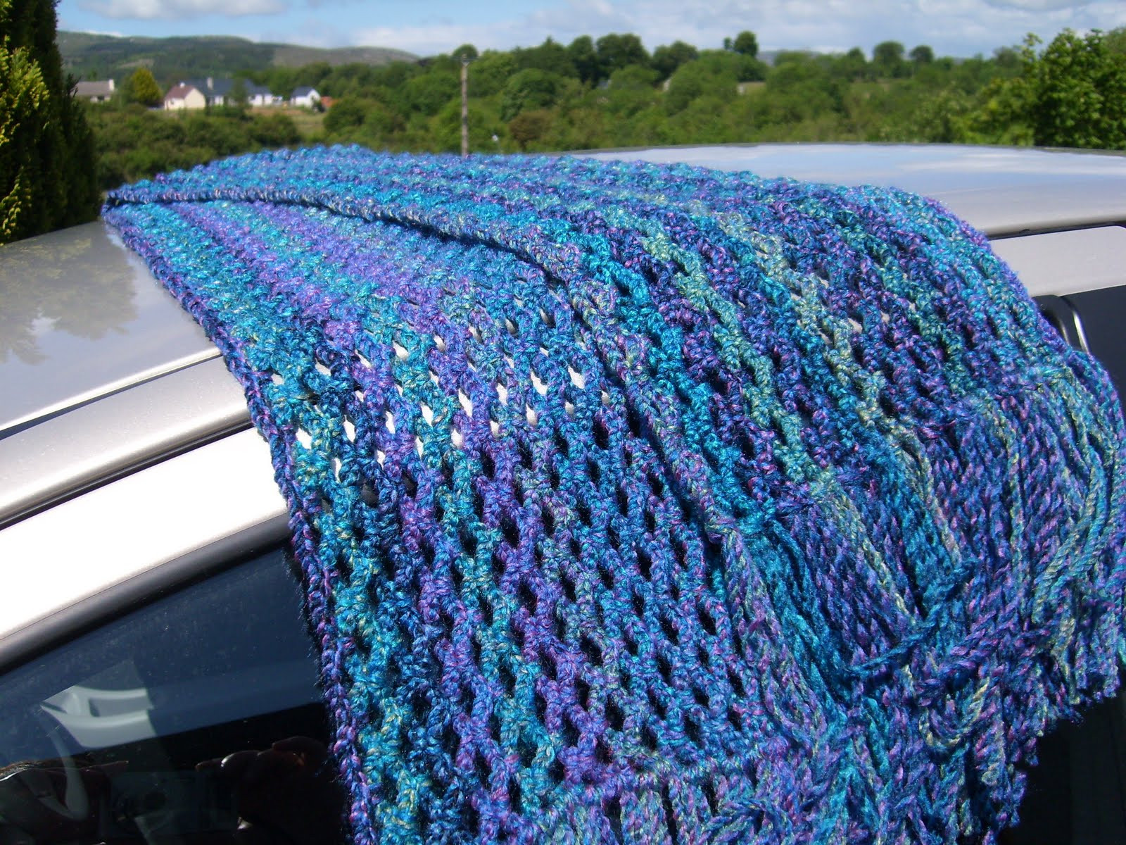 Pie in the Sky Crochet Easy chain lace scarf