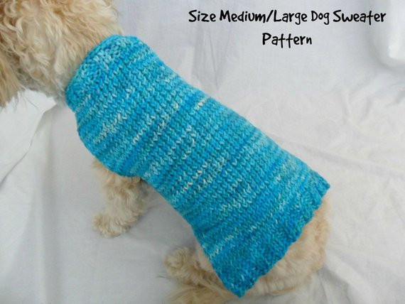 Easy dog sweater knitting pattern for medium and large dogs