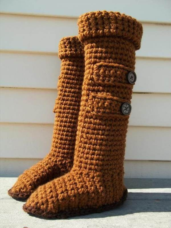 10 DIY Free Patterns for Crochet Slipper Boots