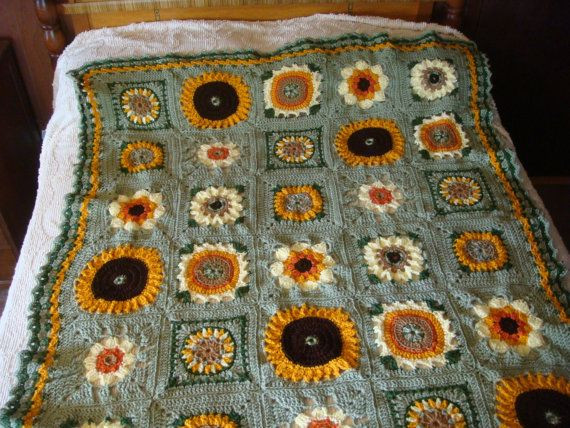 Elegant 17 Best Images About Crochet Afghans Adults On Pinterest Sunflower Crochet Blanket Of Elegant Hand Crocheted Sunflower Granny Square Blanket Afghan Throw Sunflower Crochet Blanket