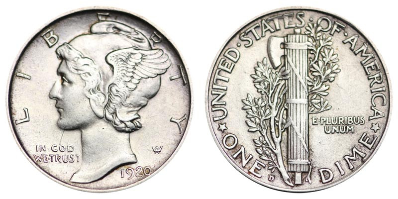1920 D Mercury Dimes Winged Liberty Silver Dime Value and