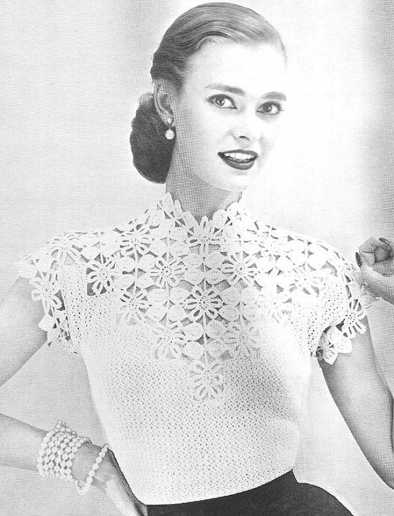 Elegant 1955 Flower and Leaf Yoke Blouse Vintage Crochet Pattern Vintage Crochet Patterns Of Attractive 43 Pictures Vintage Crochet Patterns
