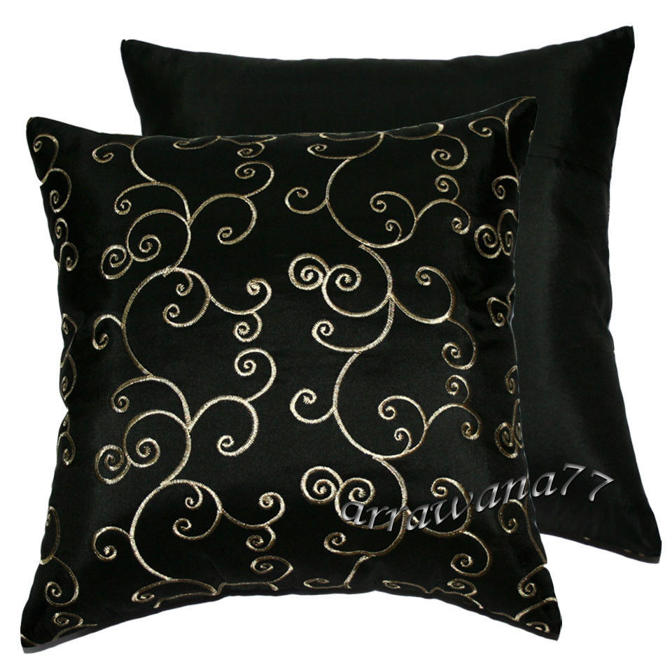 Elegant 2 Thai Silk Decorative Pillow Cushion Cover Throw Fs Black Patterned Throw Of Amazing 40 Photos Patterned Throw