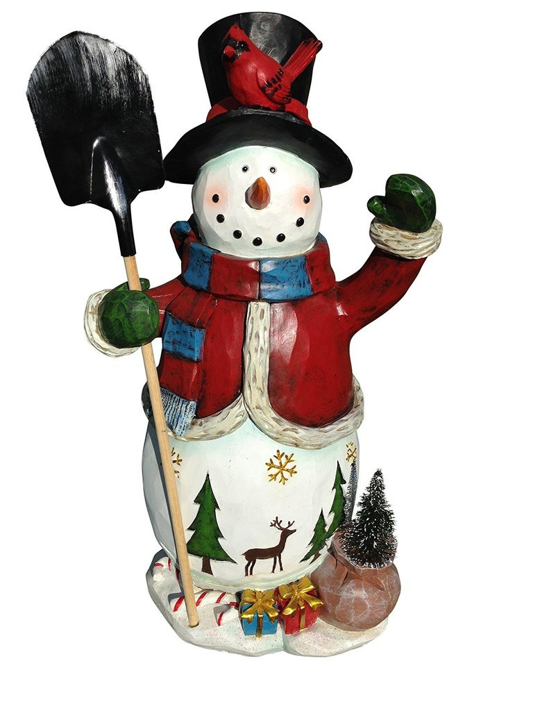 "Elegant 20"" Tall Christmas Snowman Figure Hand Painted Artisan Christmas Snowman Decorations Of Adorable 41 Models Christmas Snowman Decorations"